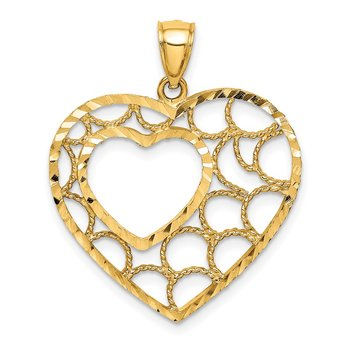 14K Diamond-cut Heart Pendant