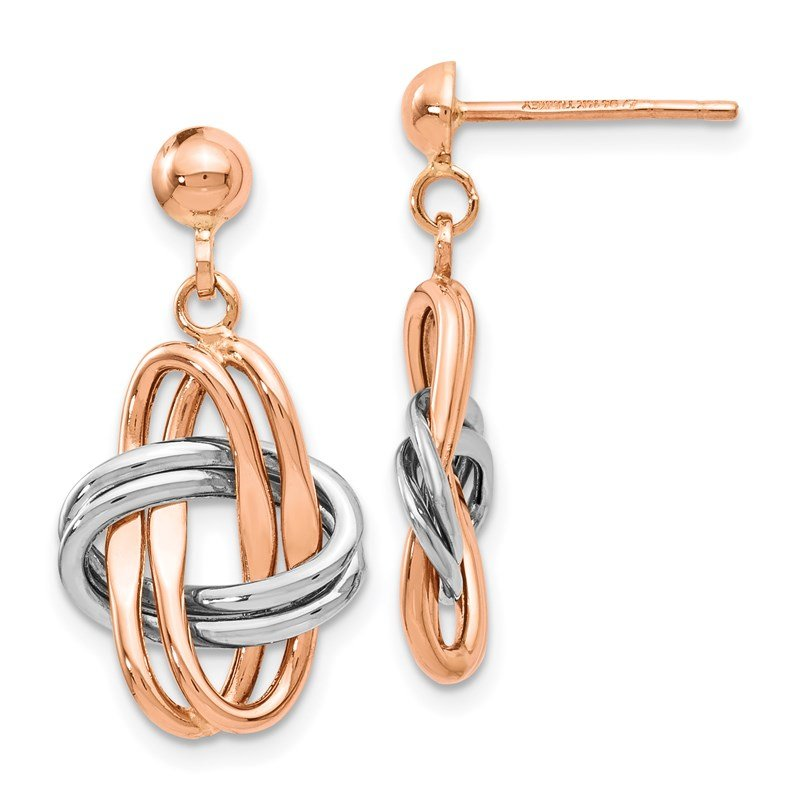 Leslie's Leslie's 14K Two-tone Rose & White Polished Post Dangle Earrings