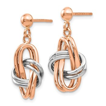 Leslie's 14k Two-tone (Rose & White) Polished Post Dangle Earrings