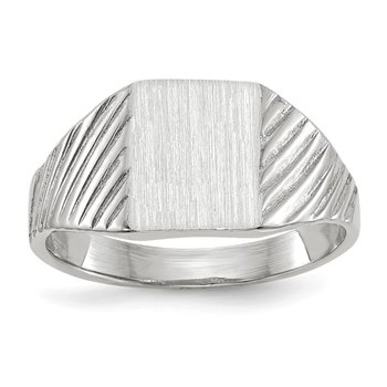 14k White Gold 8.5x6.0mm Closed Back Child's Signet Ring