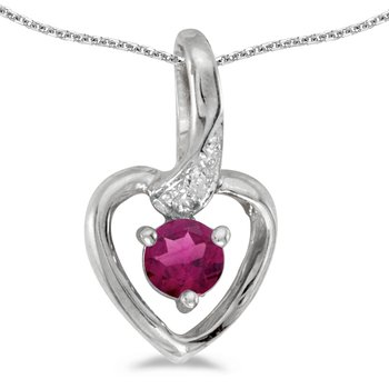 14k White Gold Round Rhodolite Garnet And Diamond Heart Pendant