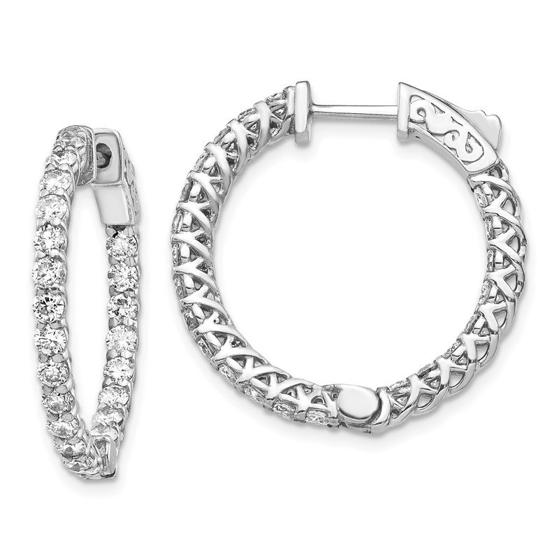 Quality Gold 14k White Gold Diamond Round Hoop w/Safety Clasp Earrings