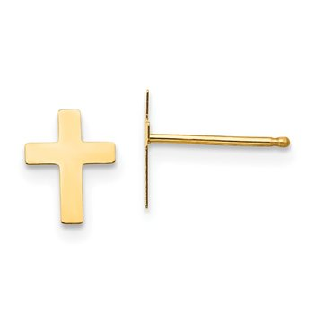 14k Madi K Polished Cross Friction Post Earrings