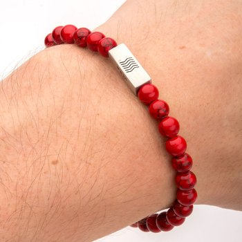 Red Howlite Gemstone Stretch Bracelet with Steel Accent