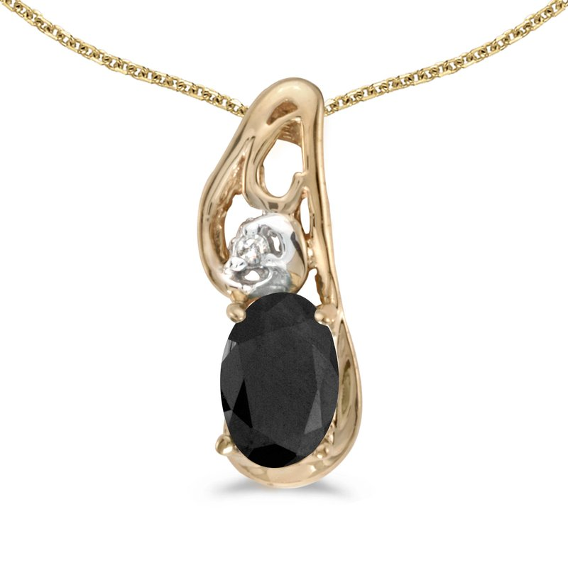 Color Merchants 10k Yellow Gold Oval Onyx And Diamond Pendant