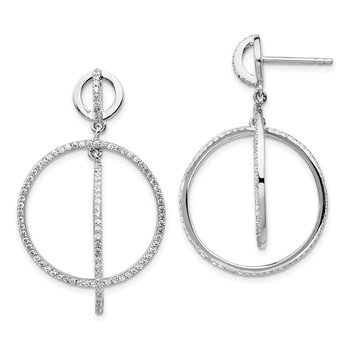 Sterling Silver Rhodium-plated CZ Circles Dangle Post Earrings