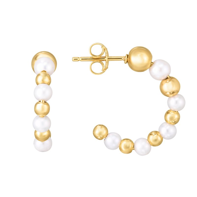 Royal Chain 14K Gold Pearl & Bead C Hoop