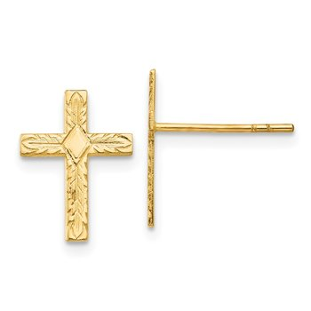 14k Polished & Textured Cross Earrings