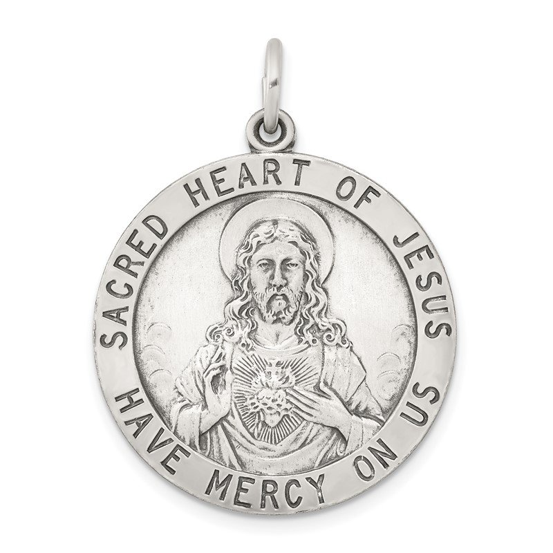Quality Gold Sterling Silver Sacred Heart of Jesus Medal