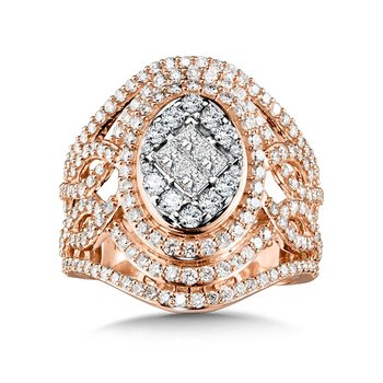 Ornate Oval Princess-Cut Cluster Diamond Statement Ring