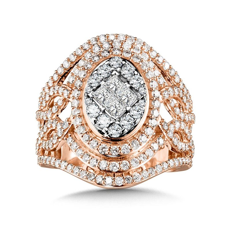SDC Creations Ornate Oval Princess-Cut Cluster Diamond Statement Ring