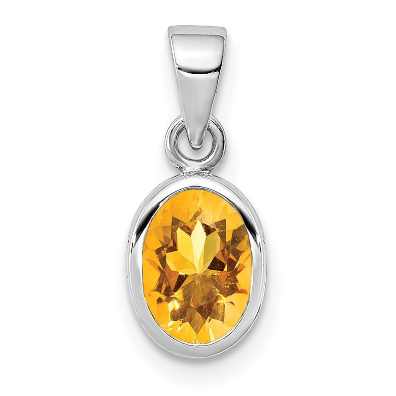 Quality Gold Sterling Silver Rhodium-plated Polished Citrine Oval Pendant