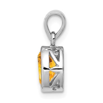 Sterling Silver Rhodium-plated Polished Citrine Oval Pendant