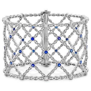 6.65 ctw. Lorelei Lattice Dia Sapphire Bangle
