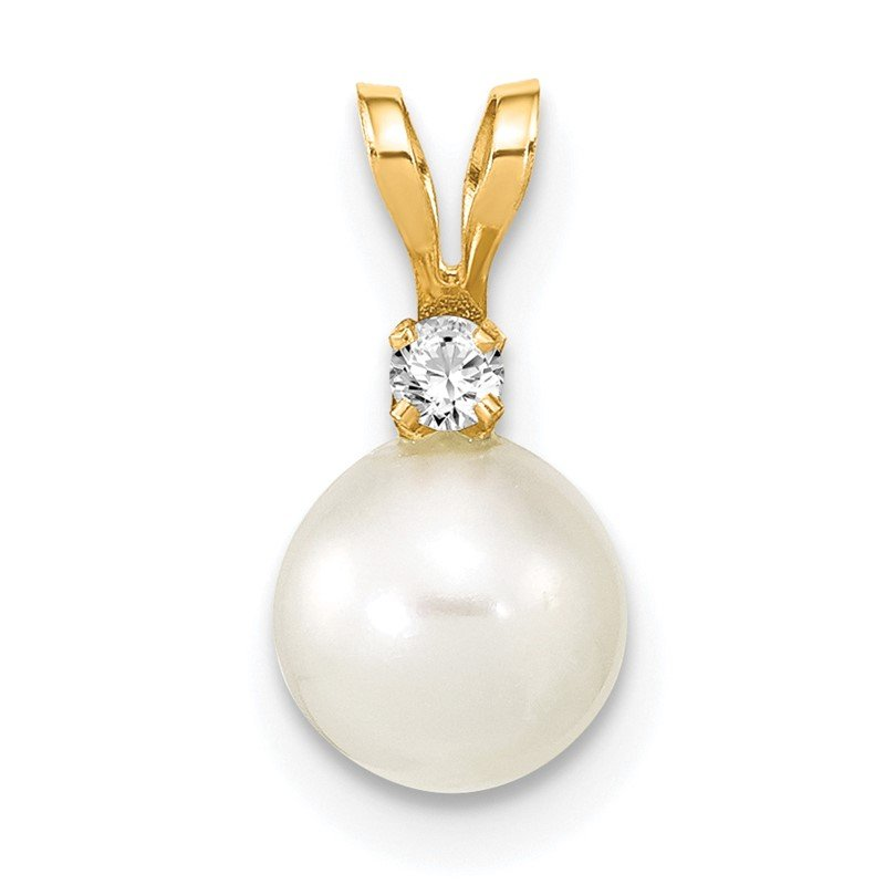 Quality Gold 14k 6-7mm Round White Freshwater Cultured Pearl Diamond Pendant
