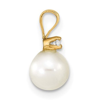 14k 6-7mm Round White Freshwater Cultured Pearl Diamond Pendant