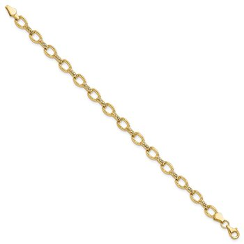 14k Diamond Cut Fancy Link Bracelet