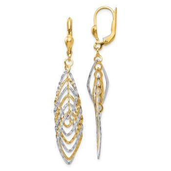 14K Two-tone Polished Diamond-cut Dangle Leverback Earrings
