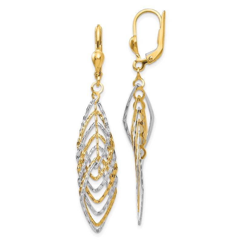 Fine Jewelry by JBD 14K Two-tone Polished Diamond-cut Dangle Leverback Earrings