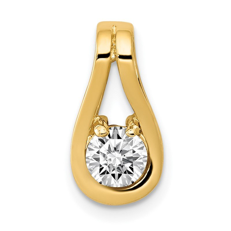 Quality Gold 14k 4.7mm AA Diamond Teardrop Shape Slide Pendant