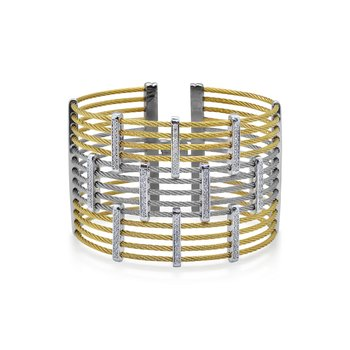 Yellow & Grey Cable Precision Cuff with 18kt White Gold & Diamonds