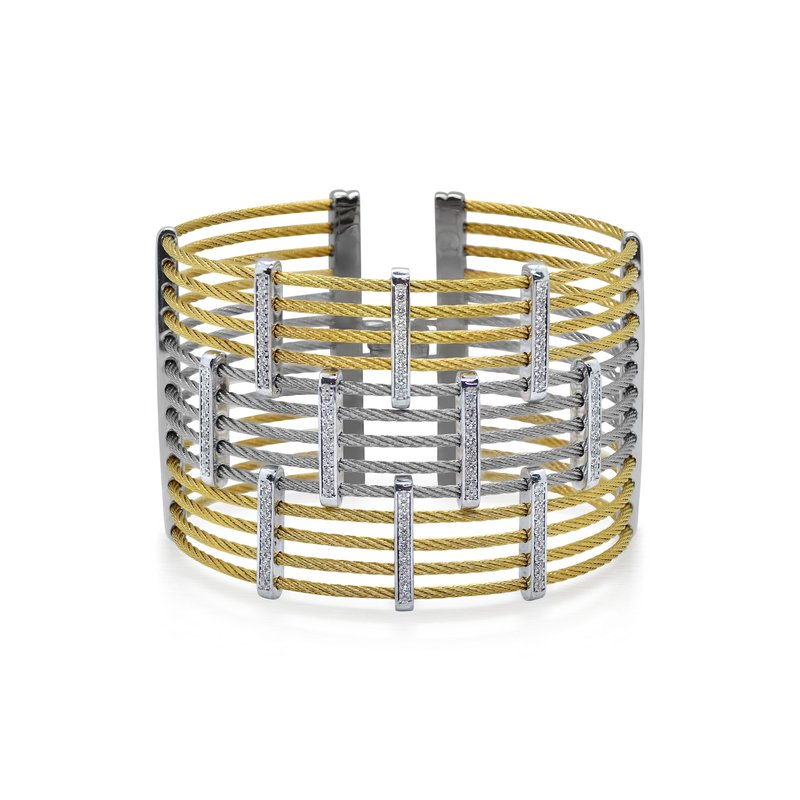 ALOR Yellow & Grey Cable Precision Cuff with 18kt White Gold & Diamonds