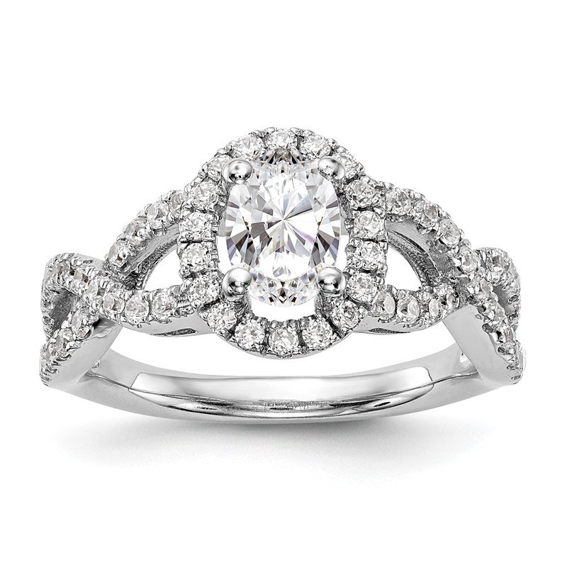True Origin 14kw True Origin Lab Grown Diamond VS/SI, D E F, S/M Oval Halo Eng. Ring