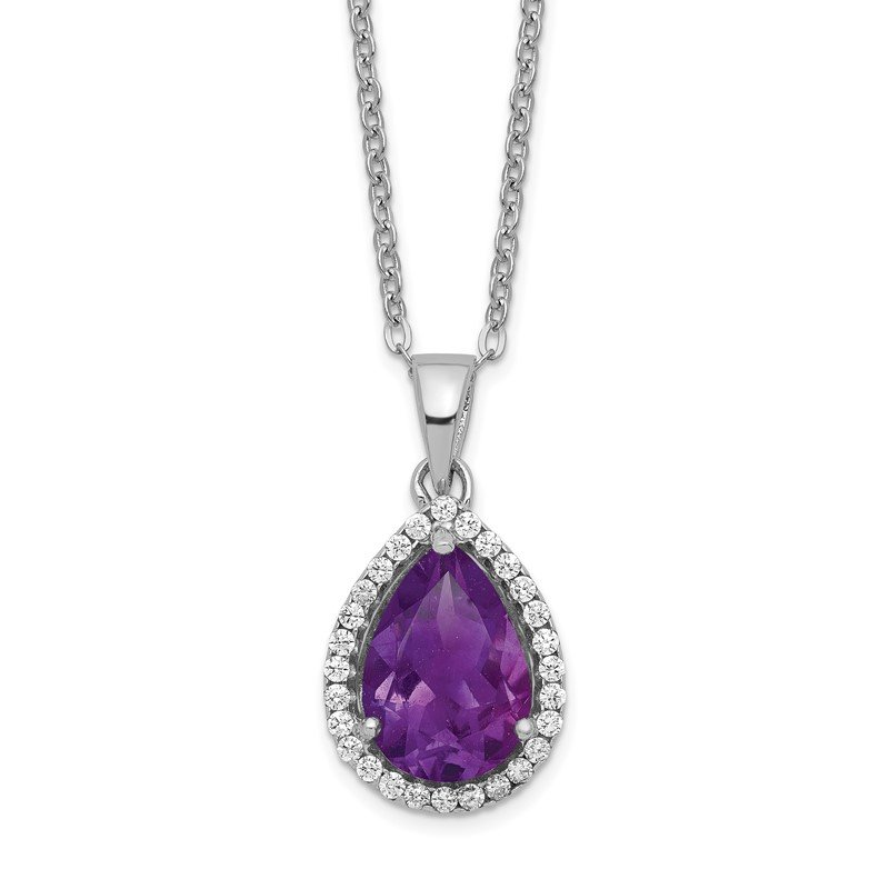 Lester Martin Online Collection Sterling Silver Rhodium Polished Amethyst & CZ Necklace