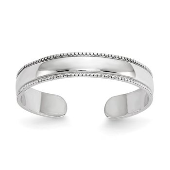 14K White Gold Milgrain Adjustable Toe Ring