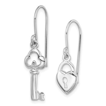 Sterling Silver Rhodium-plated Lock and Key Dangle Earring