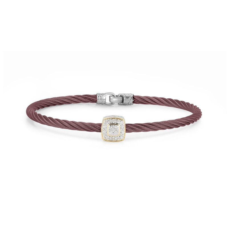 ALOR Burgundy Cable Essential Stackable Bracelet with Single Large Square Diamond station set in 18kt Yellow Gold