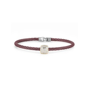Burgundy Cable Essential Stackable Bracelet with Single Large Square Diamond station set in 18kt Yellow Gold