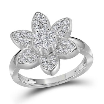 14kt White Gold Womens Round Diamond Flower Cluster Ring 1/2 Cttw