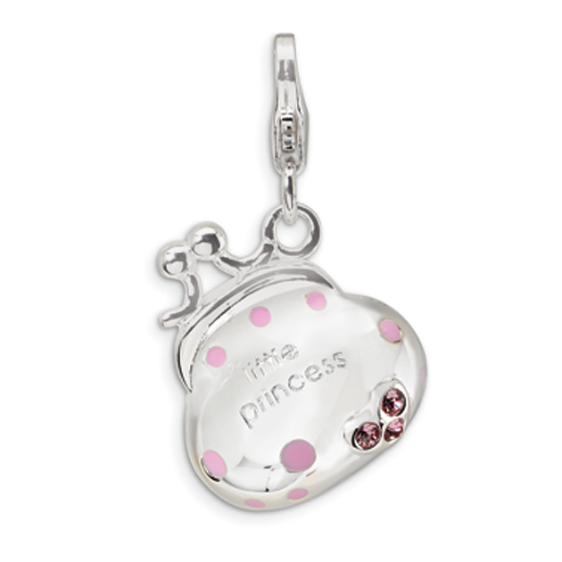 Swarovski Crystal Magenta Enamel Handbag Silver Pendant