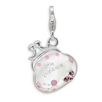 Sterling Silver Swarovski Element/Enamel Little Princess Handbag Char