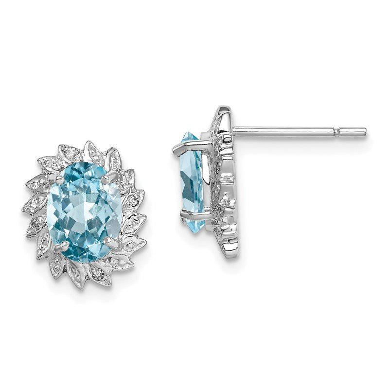 Quality Gold Sterling Silver Rhodium Light Swiss Blue Topaz & Diamond Post Earrings