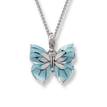 Blue Butterfly Necklace.Sterling Silver-White Sapphire