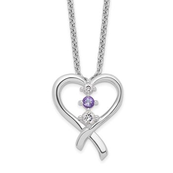 Sterling Silver Survivor Clear/Purple Swarovski Topaz Heart of Resil Neckla