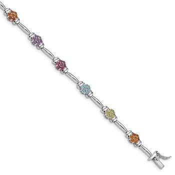Sterling Silver Rhodium-plated Multi-gemstone Bracelet