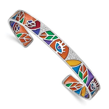 Sterling Silver Rhod-plated Abstract Multicolor Enamel CZ Cuff Bangle
