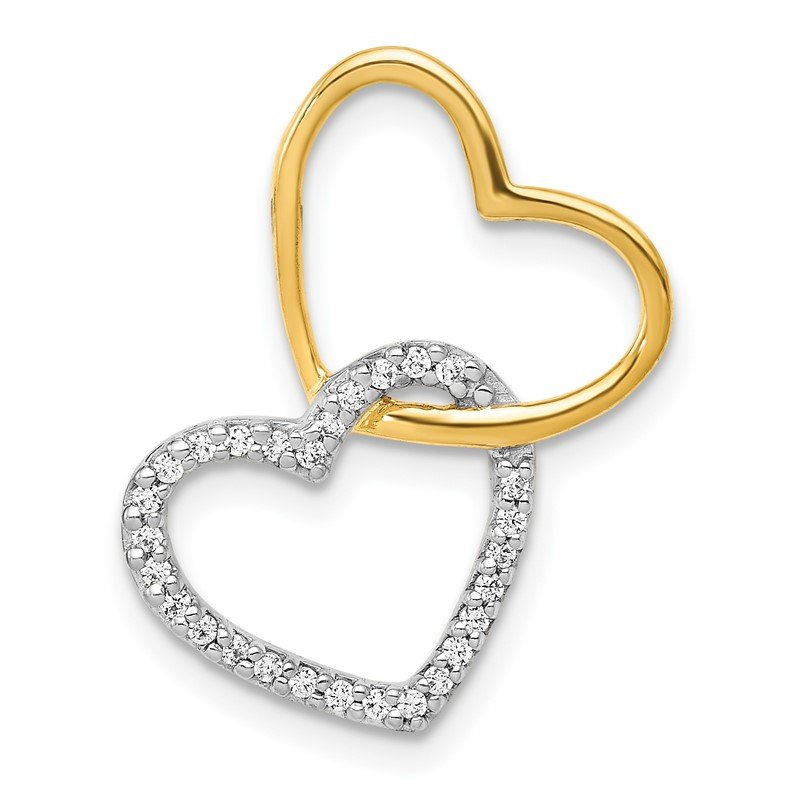 Quality Gold 14k Two-Tone 1/10ct. Diamond Double Heart Chain Slide