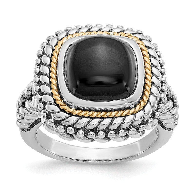 Shey Couture Sterling Silver w/14k Cabochon Onyx Ring