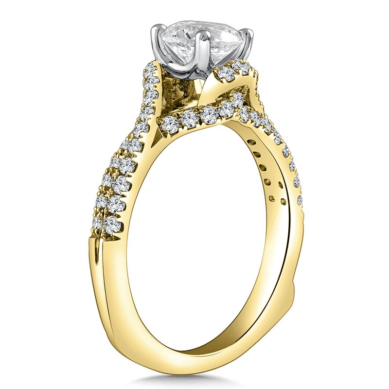 Caro74 Diamond Engagement Ring Mounting in 14K Yellow Gold with Platinum Head (.46 ct. tw.)