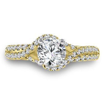 Diamond Engagement Ring Mounting in 14K Yellow Gold with Platinum Head (.46 ct. tw.)