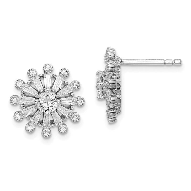 Quality Gold Sterling Silver Rhodium-plated CZ Baguette Snowflake Post Earrings