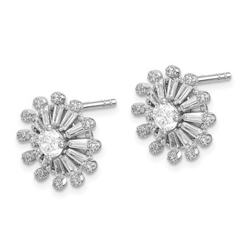 Sterling Silver Rhodium-plated CZ Baguette Snowflake Post Earrings
