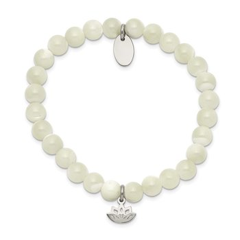 Stainless Steel Polished Lotus Mother of Pearl Beaded Stretch Bracelet