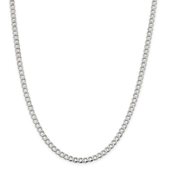 Sterling Silver 4.5mm Semi-solid Flat Curb Chain