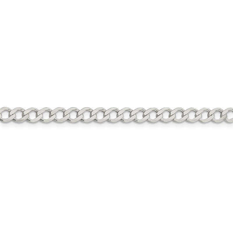 Quality Gold Sterling Silver 4.5mm Semi-solid Flat Curb Chain