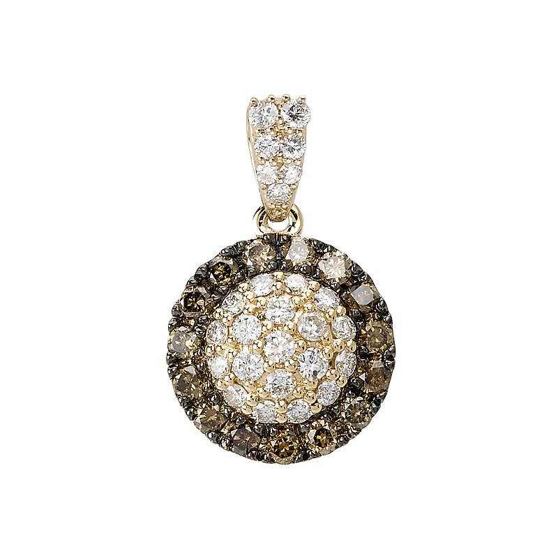 Tesoro 14ky Halo Brown Diamond Pendant